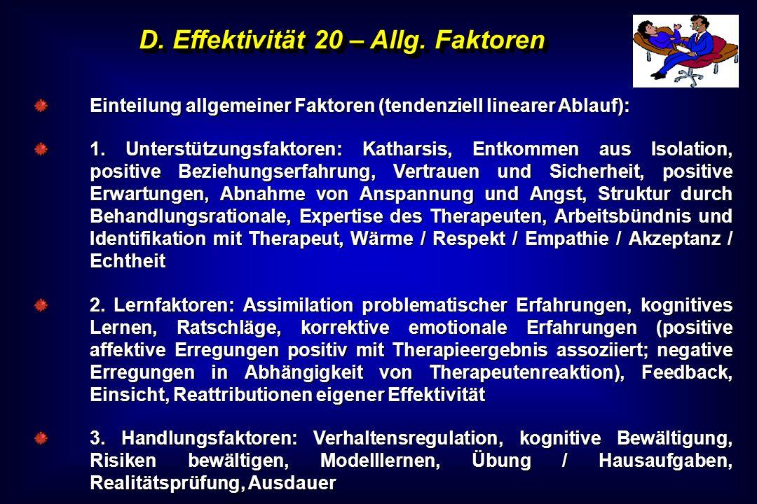 D. Effektivität 20 – Allg. Faktoren Einteilung allgemeiner Faktoren (tendenziell linearer Ablauf): 1. Unterstützungsfaktoren: Katharsis, Entkommen aus
