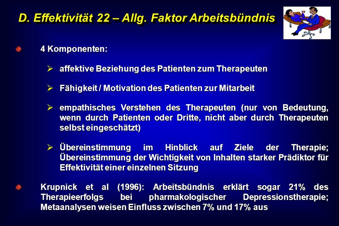 D. Effektivität 22 – Allg. Faktor Arbeitsbündnis 4 Komponenten: affektive Beziehung des Patienten zum Therapeuten affektive Beziehung des Patienten zu