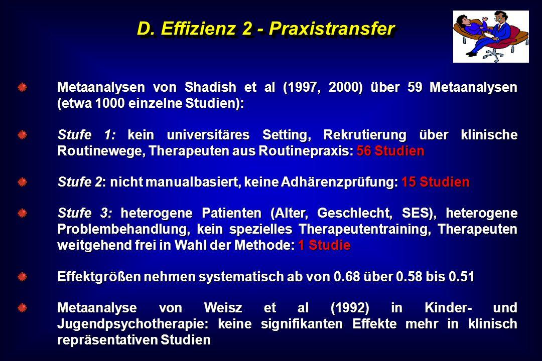 D. Effizienz 2 - Praxistransfer Metaanalysen von Shadish et al (1997, 2000) über 59 Metaanalysen (etwa 1000 einzelne Studien): Stufe 1: kein universit