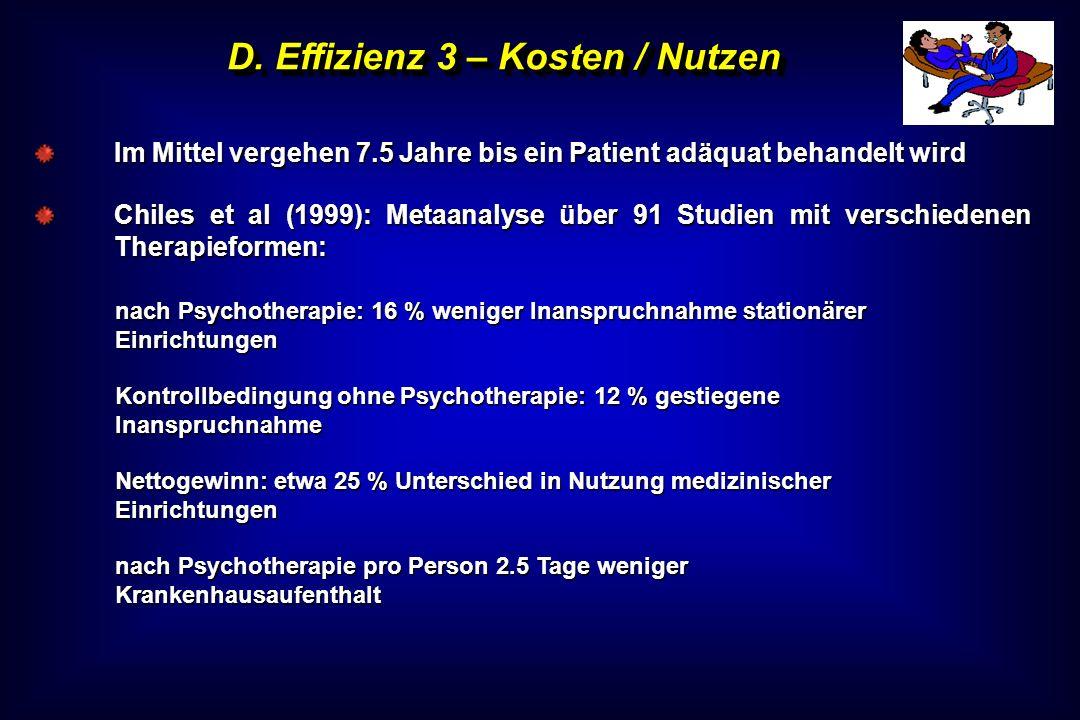 D. Effizienz 3 – Kosten / Nutzen Im Mittel vergehen 7.5 Jahre bis ein Patient adäquat behandelt wird Chiles et al (1999): Metaanalyse über 91 Studien