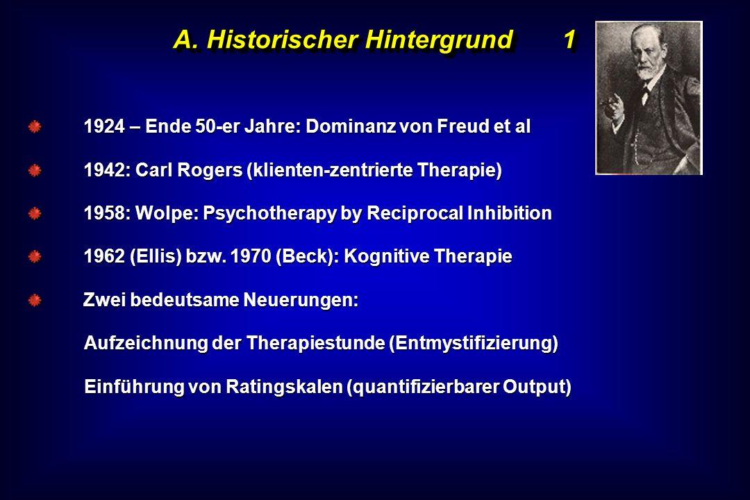 A. Historischer Hintergrund1 1924 – Ende 50-er Jahre: Dominanz von Freud et al 1942: Carl Rogers (klienten-zentrierte Therapie) 1958: Wolpe: Psychothe
