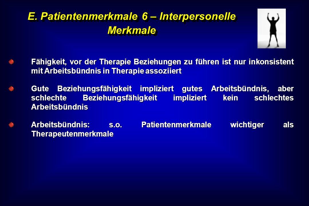 E. Patientenmerkmale 6 – Interpersonelle Merkmale Fähigkeit, vor der Therapie Beziehungen zu führen ist nur inkonsistent mit Arbeitsbündnis in Therapi