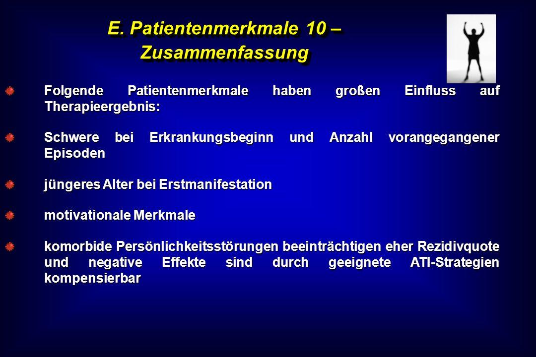 E. Patientenmerkmale 10 – Zusammenfassung Folgende Patientenmerkmale haben großen Einfluss auf Therapieergebnis: Schwere bei Erkrankungsbeginn und Anz