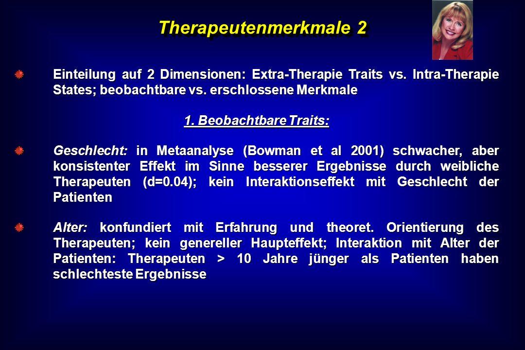 Therapeutenmerkmale 2 Einteilung auf 2 Dimensionen: Extra-Therapie Traits vs. Intra-Therapie States; beobachtbare vs. erschlossene Merkmale 1. Beobach