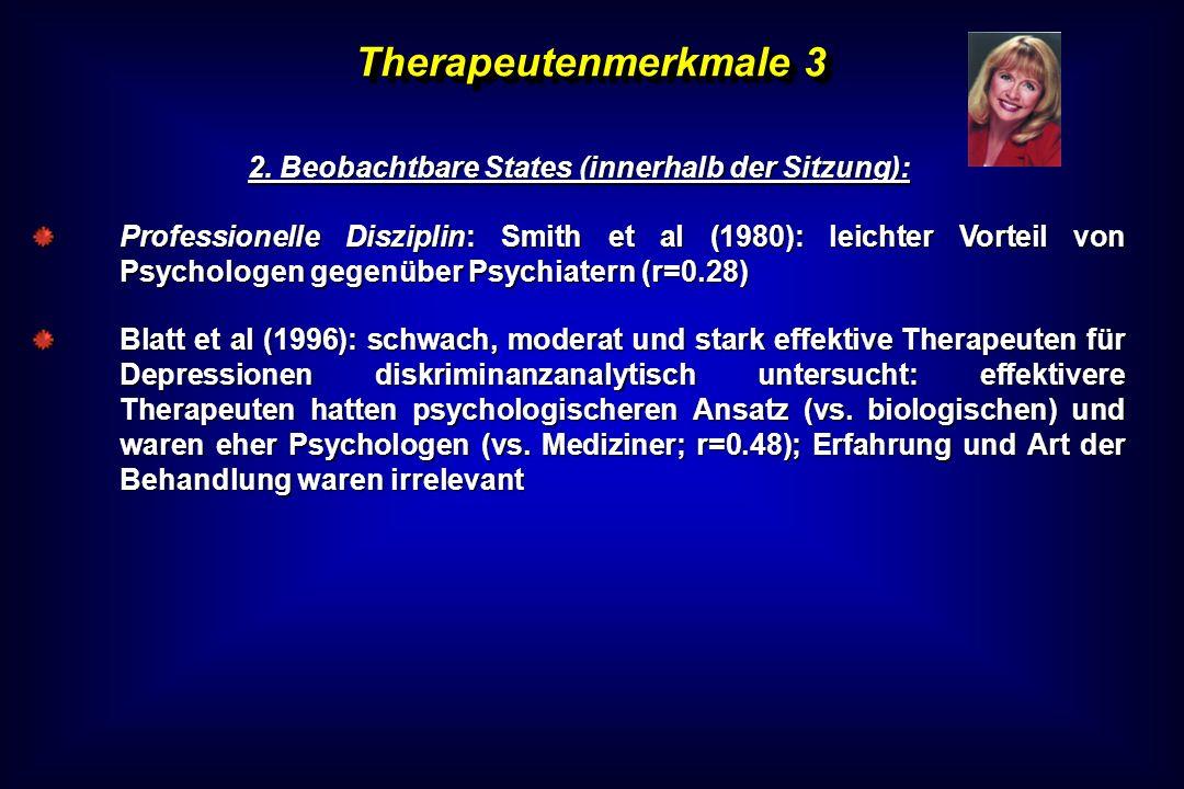 Therapeutenmerkmale 3 2. Beobachtbare States (innerhalb der Sitzung): Professionelle Disziplin: Smith et al (1980): leichter Vorteil von Psychologen g
