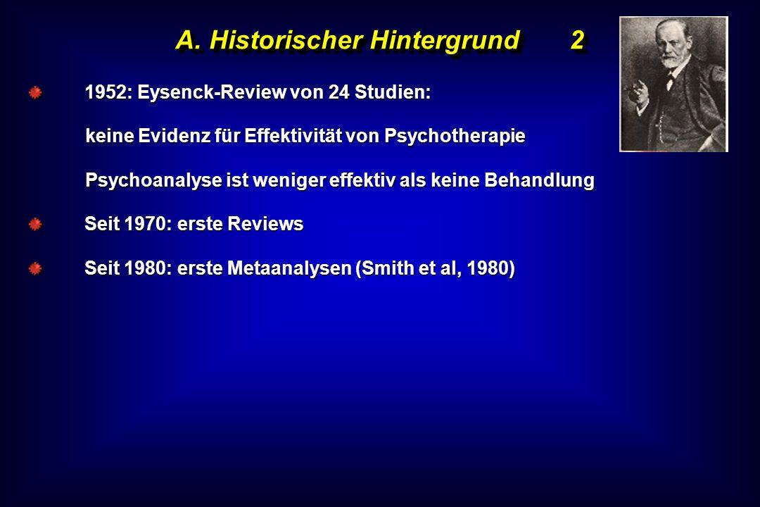 A. Historischer Hintergrund2 1952: Eysenck-Review von 24 Studien: keine Evidenz für Effektivität von Psychotherapie Psychoanalyse ist weniger effektiv