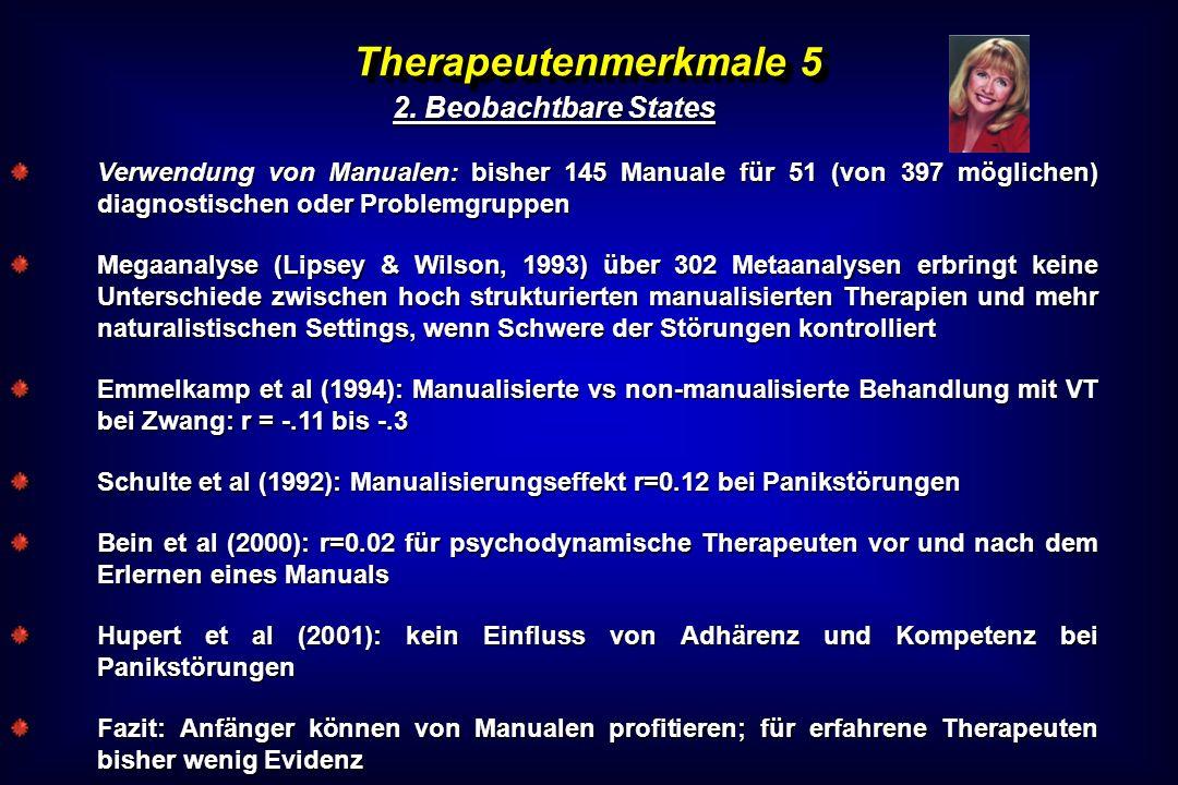Therapeutenmerkmale 5 2. Beobachtbare States Verwendung von Manualen: bisher 145 Manuale für 51 (von 397 möglichen) diagnostischen oder Problemgruppen