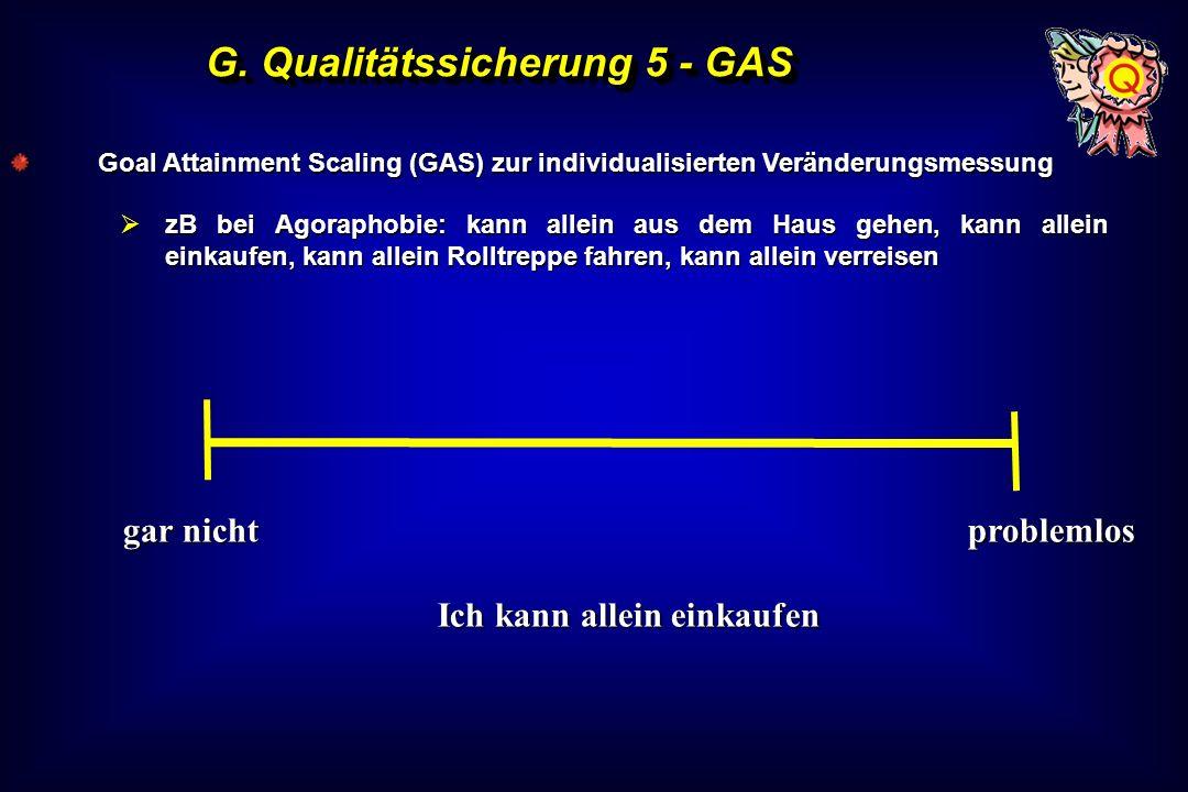 G. Qualitätssicherung 5 - GAS Goal Attainment Scaling (GAS) zur individualisierten Veränderungsmessung zB bei Agoraphobie: kann allein aus dem Haus ge