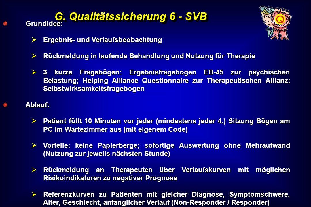 G. Qualitätssicherung 6 - SVB Grundidee: Ergebnis- und Verlaufsbeobachtung Ergebnis- und Verlaufsbeobachtung Rückmeldung in laufende Behandlung und Nu