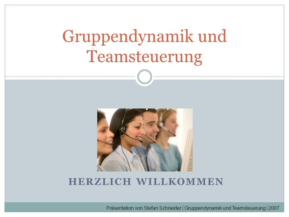 HERZLICH WILLKOMMEN Gruppendynamik und Teamsteuerung Präsentation von Stefan Schneider | Gruppendynamik und Teamsteuerung | 2007