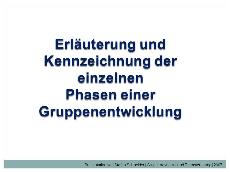 Erläuterung und Kennzeichnung der einzelnen Phasen einer Gruppenentwicklung Präsentation von Stefan Schneider | Gruppendynamik und Teamsteuerung | 200