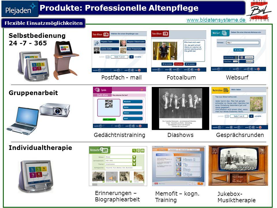 Flexible Einsatzmöglichkeiten Selbstbedienung 24 -7 - 365 Postfach - mail Fotoalbum Websurf Individualtherapie Erinnerungen – Biographiearbeit Memofit – kogn.