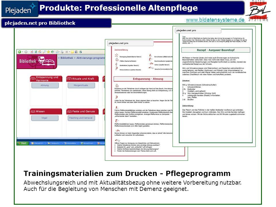 Trainingsmaterialien zum Drucken - Pflegeprogramm Abwechslungsreich und mit Aktualitätsbezug ohne weitere Vorbereitung nutzbar.