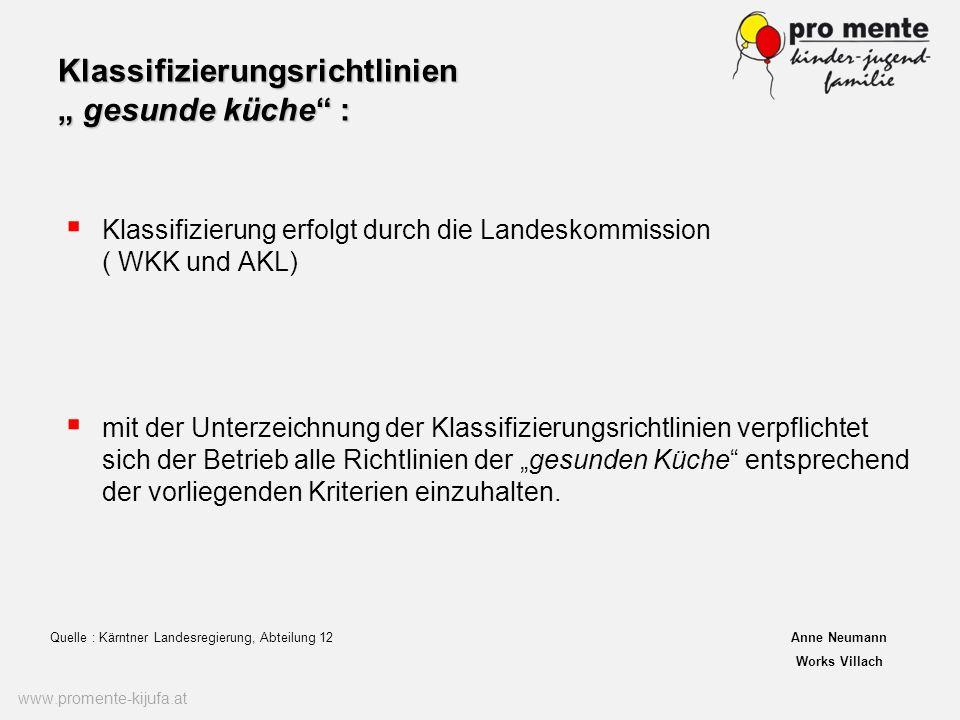 Klassifizierungsrichtlinien gesunde küche : Klassifizierung erfolgt durch die Landeskommission ( WKK und AKL) www.promente-kijufa.at mit der Unterzeic