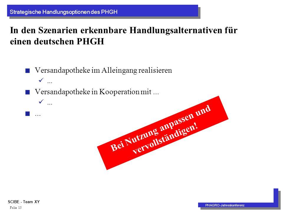 Strategische Handlungsoptionen des PHGH PHAGRO-Jahreskonferenz SCIBE - Team XY Folie 15 In den Szenarien erkennbare Handlungsalternativen für einen deutschen PHGH Versandapotheke im Alleingang realisieren...