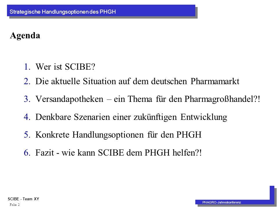 Strategische Handlungsoptionen des PHGH PHAGRO-Jahreskonferenz SCIBE - Team XY Folie 2 Agenda 1.Wer ist SCIBE.