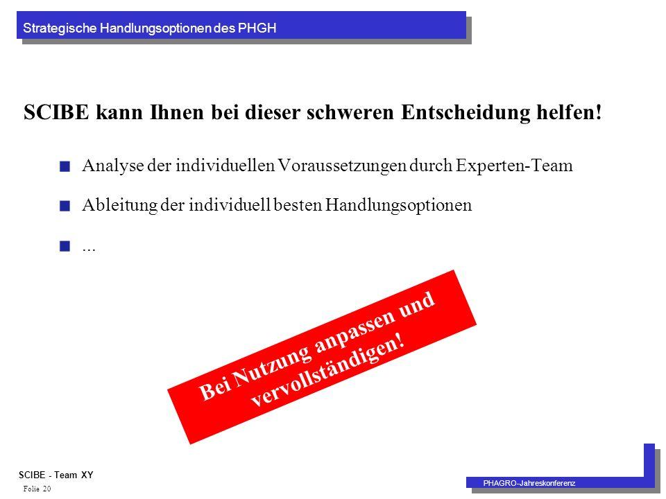 Strategische Handlungsoptionen des PHGH PHAGRO-Jahreskonferenz SCIBE - Team XY Folie 20 SCIBE kann Ihnen bei dieser schweren Entscheidung helfen.