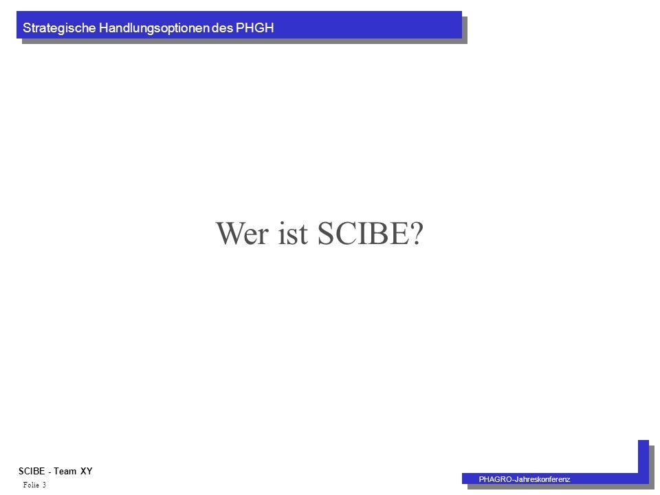 Strategische Handlungsoptionen des PHGH PHAGRO-Jahreskonferenz SCIBE - Team XY Folie 3 Wer ist SCIBE