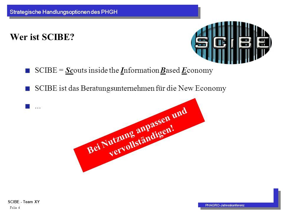 Strategische Handlungsoptionen des PHGH PHAGRO-Jahreskonferenz SCIBE - Team XY Folie 4 Wer ist SCIBE.