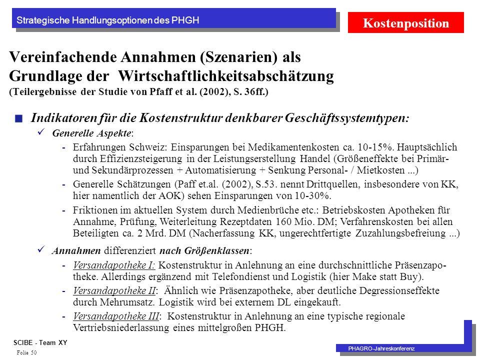 Strategische Handlungsoptionen des PHGH PHAGRO-Jahreskonferenz SCIBE - Team XY Folie 50 Vereinfachende Annahmen (Szenarien) als Grundlage der Wirtschaftlichkeitsabschätzung (Teilergebnisse der Studie von Pfaff et al.
