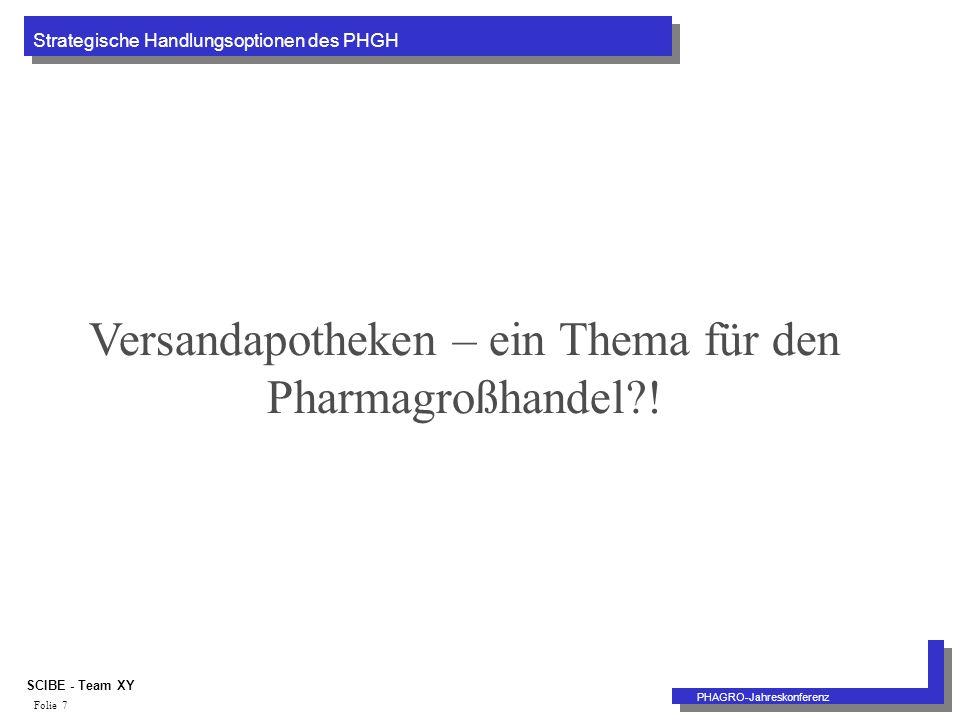 Strategische Handlungsoptionen des PHGH PHAGRO-Jahreskonferenz SCIBE - Team XY Folie 7 Versandapotheken – ein Thema für den Pharmagroßhandel !