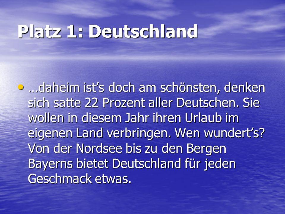 Platz 1: Deutschland …daheim ists doch am schönsten, denken sich satte 22 Prozent aller Deutschen. Sie wollen in diesem Jahr ihren Urlaub im eigenen L