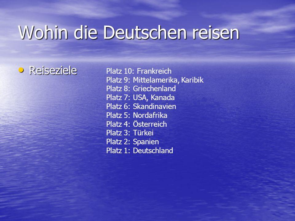 Wohin die Deutschen reisen Reiseziele Reiseziele Platz 10: Frankreich Platz 9: Mittelamerika, Karibik Platz 8: Griechenland Platz 7: USA, Kanada Platz