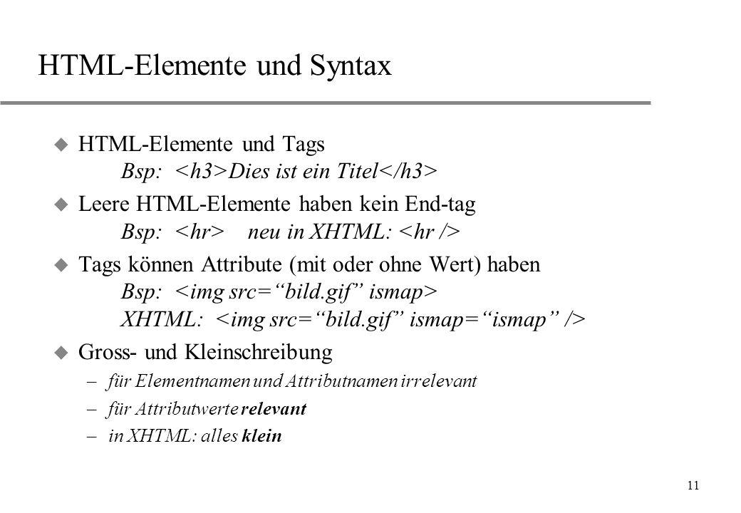 11 HTML-Elemente und Syntax u HTML-Elemente und Tags Bsp: Dies ist ein Titel u Leere HTML-Elemente haben kein End-tag Bsp: neu in XHTML: u Tags können