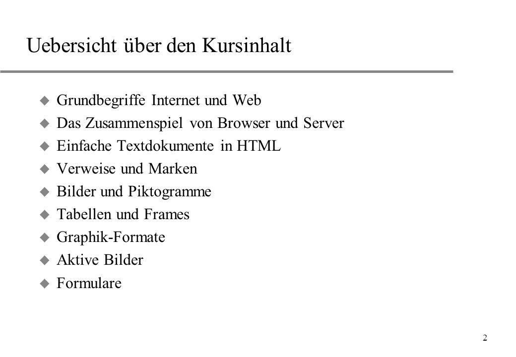 2 Uebersicht über den Kursinhalt u Grundbegriffe Internet und Web u Das Zusammenspiel von Browser und Server u Einfache Textdokumente in HTML u Verwei