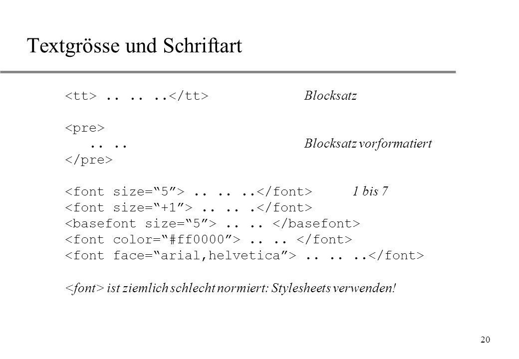 20 Textgrösse und Schriftart...... Blocksatz.... Blocksatz vorformatiert...... 1 bis 7............... ist ziemlich schlecht normiert: Stylesheets verw