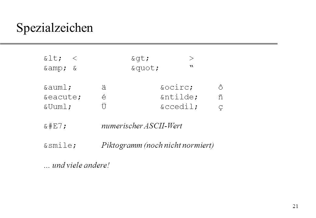 "21 Spezialzeichen < &&"" ääôô ééññ ÜÜçç &#E7; numerischer ASCII-Wert ⌣ Piktogramm (noch nicht no"