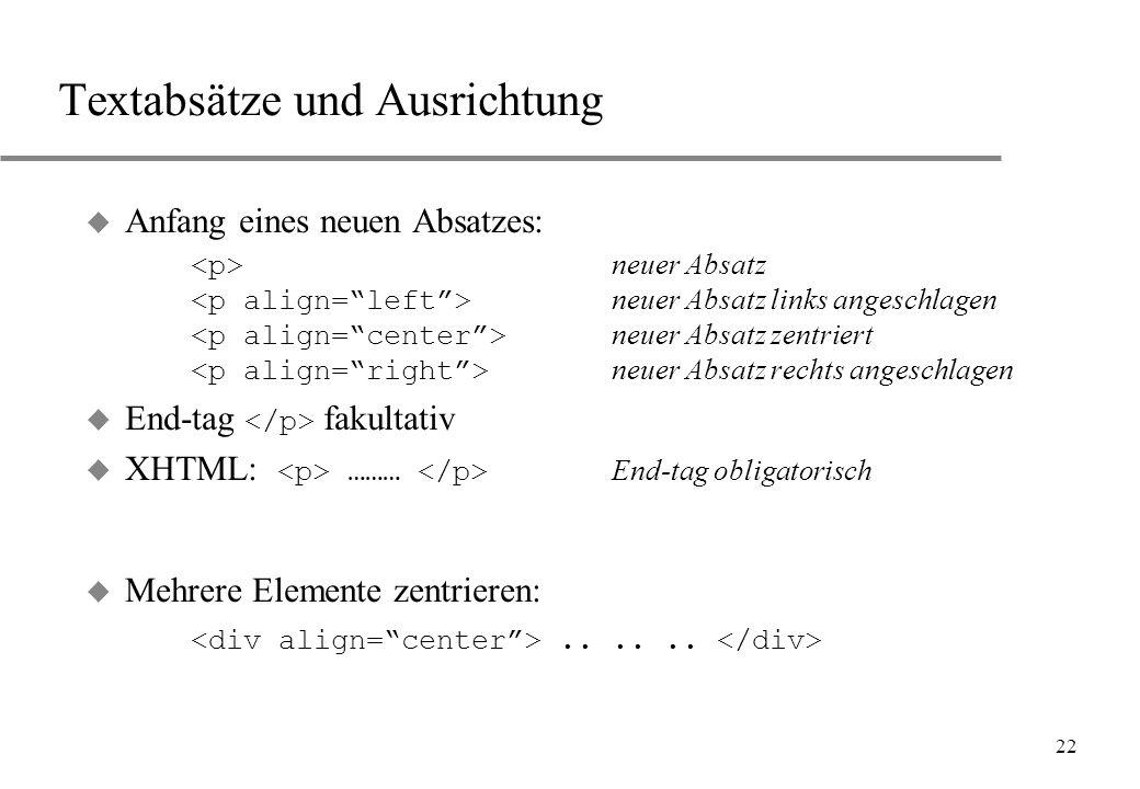 22 Textabsätze und Ausrichtung Anfang eines neuen Absatzes: neuer Absatz neuer Absatz links angeschlagen neuer Absatz zentriert neuer Absatz rechts an