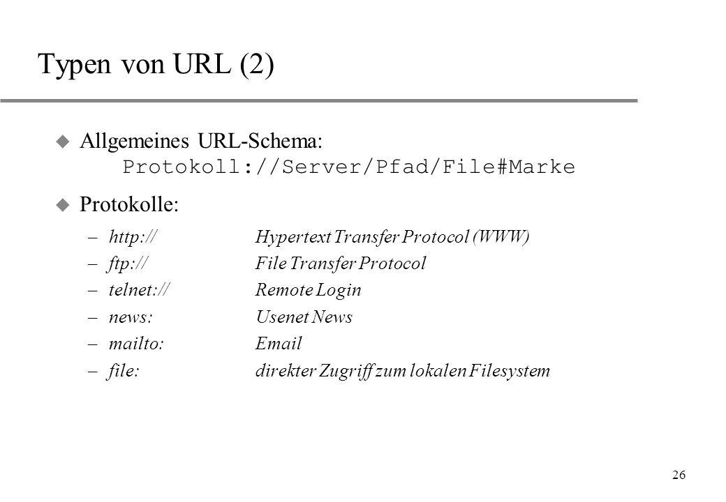 26 Typen von URL (2) Allgemeines URL-Schema: Protokoll://Server/Pfad/File#Marke u Protokolle: –http://Hypertext Transfer Protocol (WWW) –ftp://File Tr