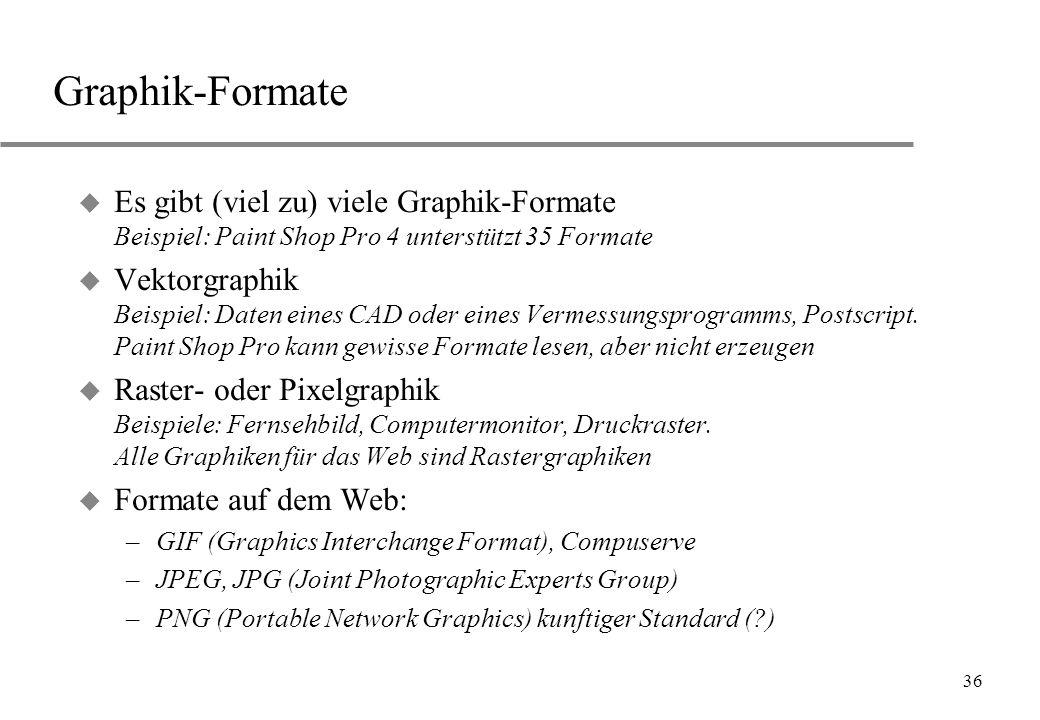 36 Graphik-Formate u Es gibt (viel zu) viele Graphik-Formate Beispiel: Paint Shop Pro 4 unterstützt 35 Formate u Vektorgraphik Beispiel: Daten eines C