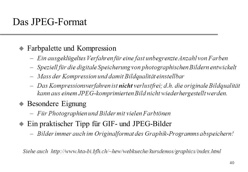 40 Das JPEG-Format u Farbpalette und Kompression –Ein ausgeklügeltes Verfahren für eine fast unbegrenzte Anzahl von Farben –Speziell für die digitale