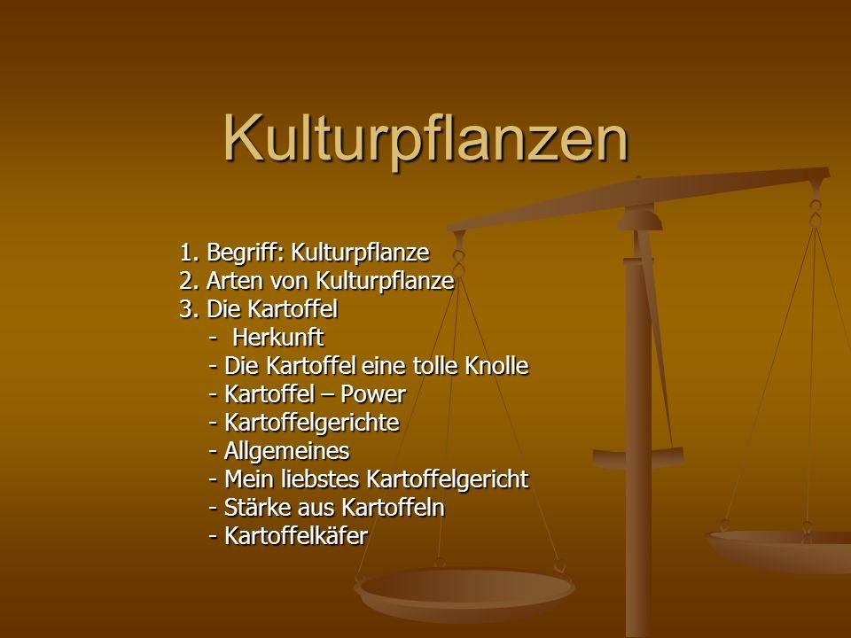 Kulturpflanzen 1. Begriff: Kulturpflanze 2. Arten von Kulturpflanze 3. Die Kartoffel - Herkunft - Herkunft - Die Kartoffel eine tolle Knolle - Die Kar