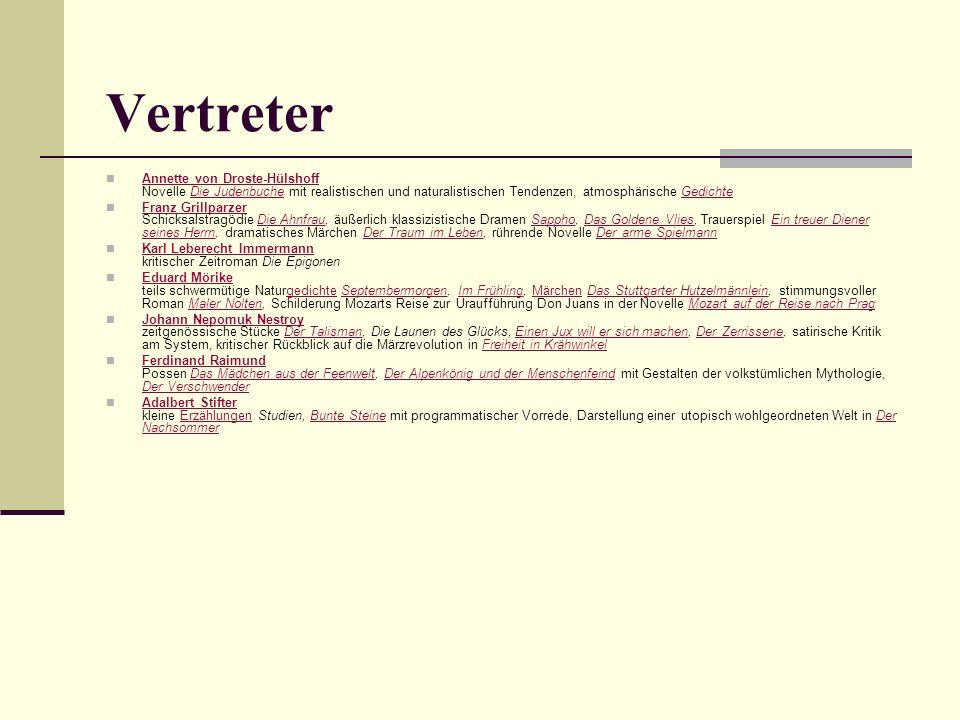 Vertreter Annette von Droste-Hülshoff Novelle Die Judenbuche mit realistischen und naturalistischen Tendenzen, atmosphärische Gedichte Annette von Dro