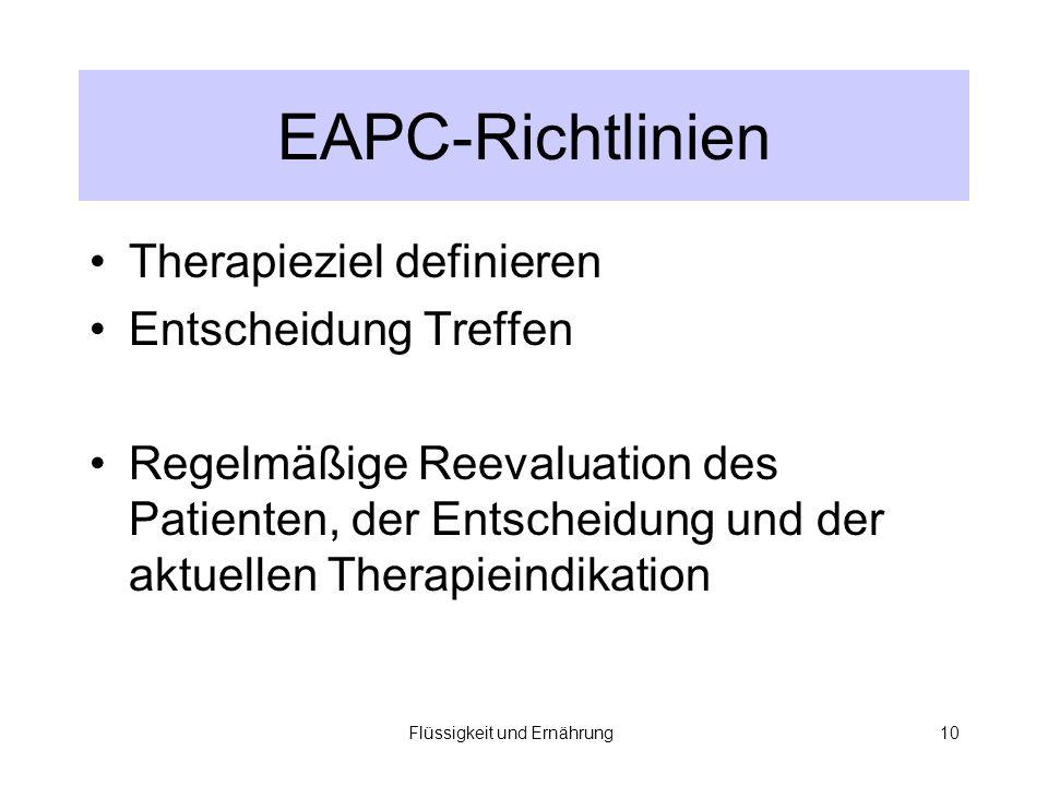 Flüssigkeit und Ernährung10 EAPC-Richtlinien Therapieziel definieren Entscheidung Treffen Regelmäßige Reevaluation des Patienten, der Entscheidung und der aktuellen Therapieindikation