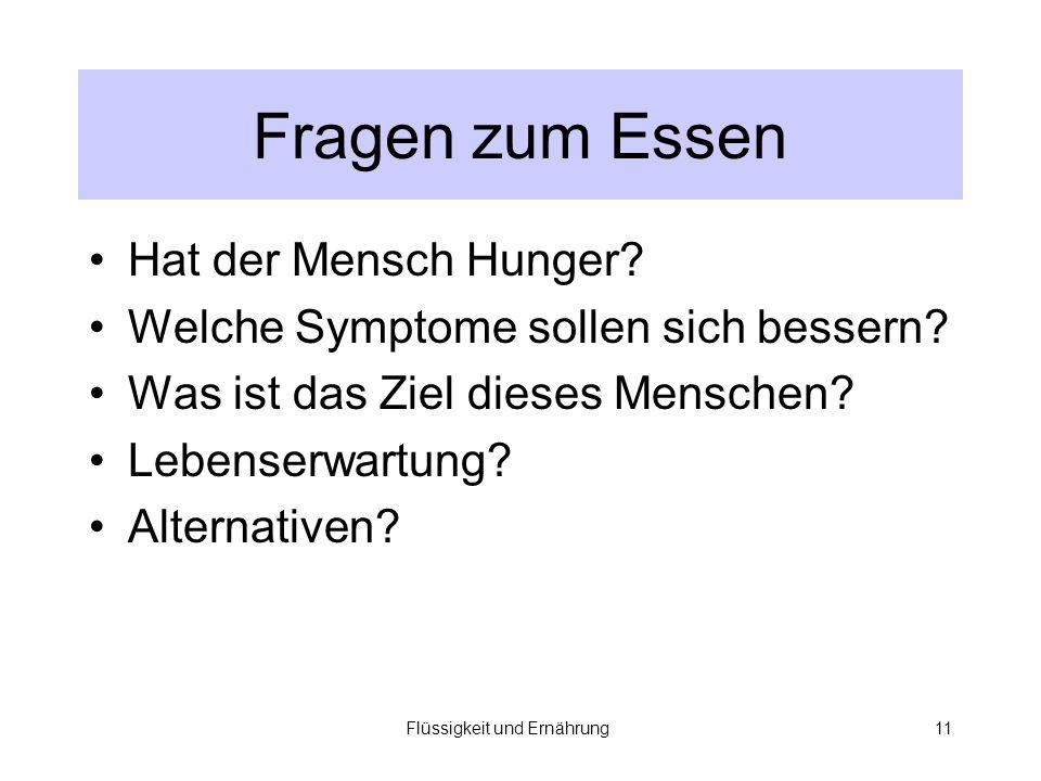 Flüssigkeit und Ernährung11 Fragen zum Essen Hat der Mensch Hunger.