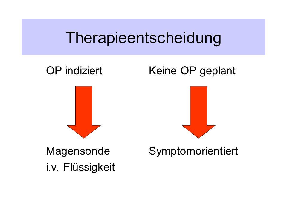 Therapieentscheidung OP indiziert Magensonde i.v. Flüssigkeit Keine OP geplant Symptomorientiert