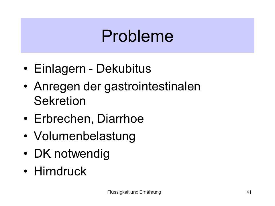 Flüssigkeit und Ernährung41 Probleme Einlagern - Dekubitus Anregen der gastrointestinalen Sekretion Erbrechen, Diarrhoe Volumenbelastung DK notwendig Hirndruck
