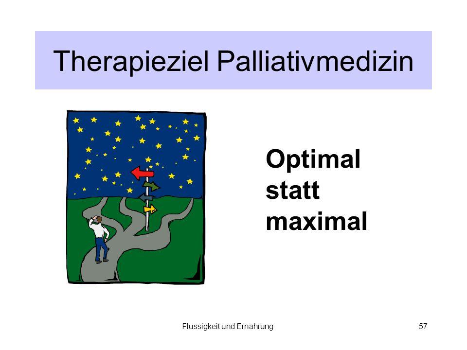 Flüssigkeit und Ernährung57 Therapieziel Palliativmedizin Optimal statt maximal