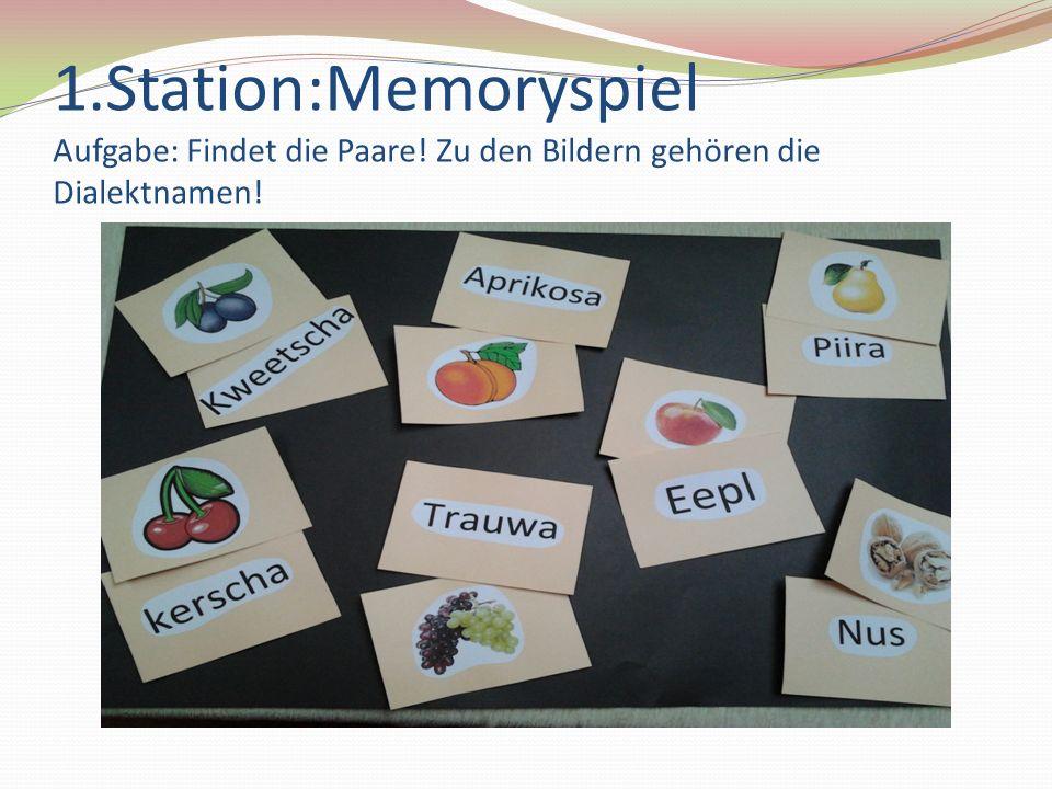 1.Station:Memoryspiel Aufgabe: Findet die Paare! Zu den Bildern gehören die Dialektnamen!