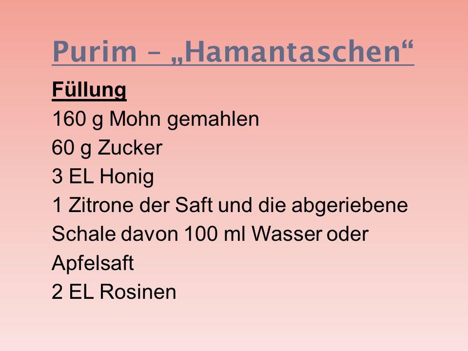 Purim – Hamantaschen Füllung 160 g Mohn gemahlen 60 g Zucker 3 EL Honig 1 Zitrone der Saft und die abgeriebene Schale davon 100 ml Wasser oder Apfelsa