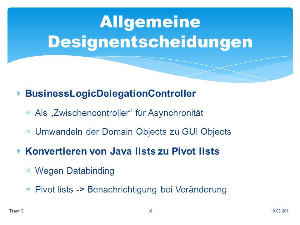 BusinessLogicDelegationController Als Zwischencontroller für Asynchronität Umwandeln der Domain Objects zu GUI Objects Konvertieren von Java lists zu Pivot lists Wegen Databinding Pivot lists -> Benachrichtigung bei Veränderung 10.06.2011Team C16 Allgemeine Designentscheidungen
