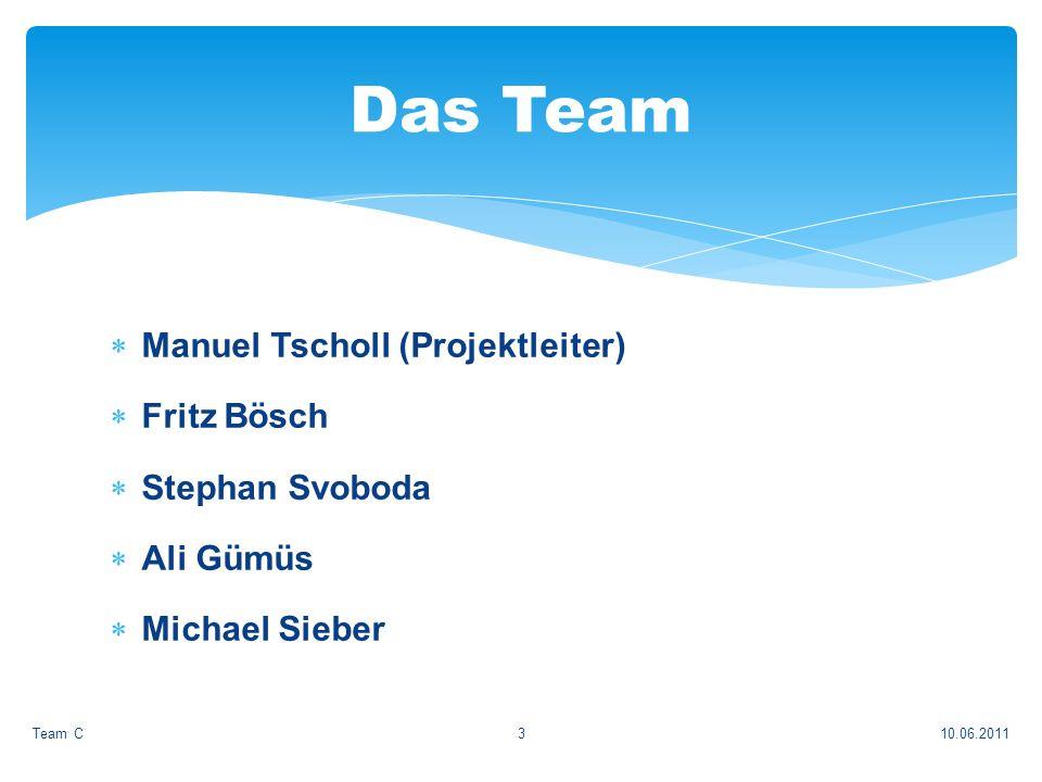 Manuel Tscholl (Projektleiter) Fritz Bösch Stephan Svoboda Ali Gümüs Michael Sieber 10.06.2011Team C3 Das Team