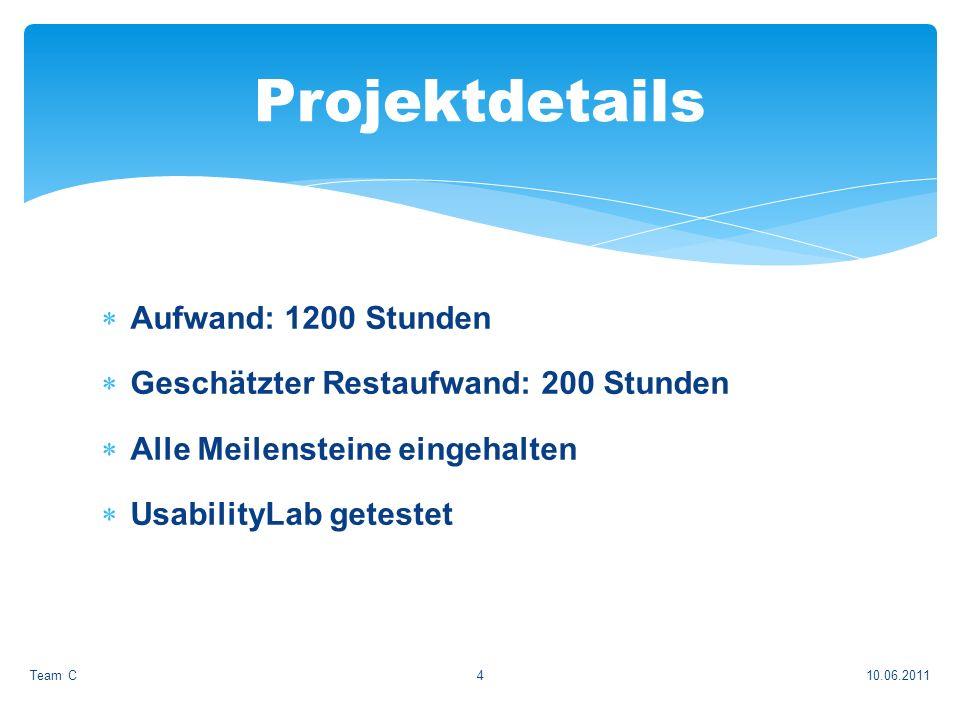 Aufwand: 1200 Stunden Geschätzter Restaufwand: 200 Stunden Alle Meilensteine eingehalten UsabilityLab getestet 10.06.2011Team C4 Projektdetails