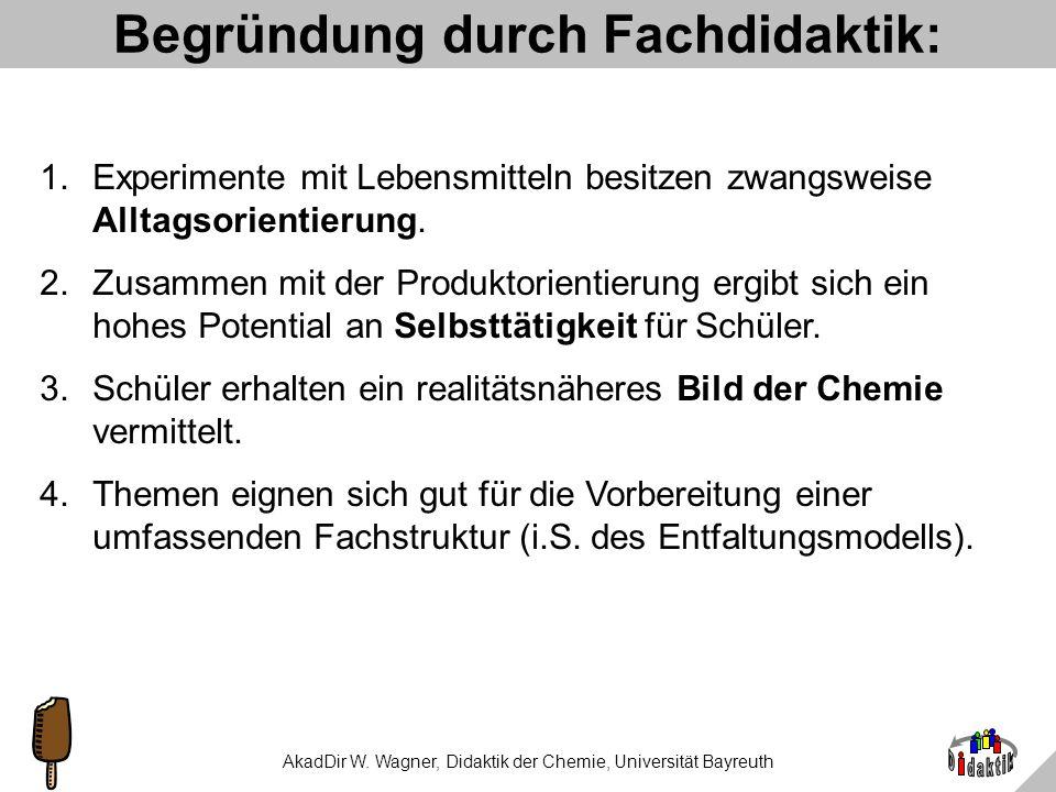 AkadDir W. Wagner, Didaktik der Chemie, Universität Bayreuth Didaktische Regeln Comenius, um 1650: wir lernen am besten... bekannt neu nahfern einfach