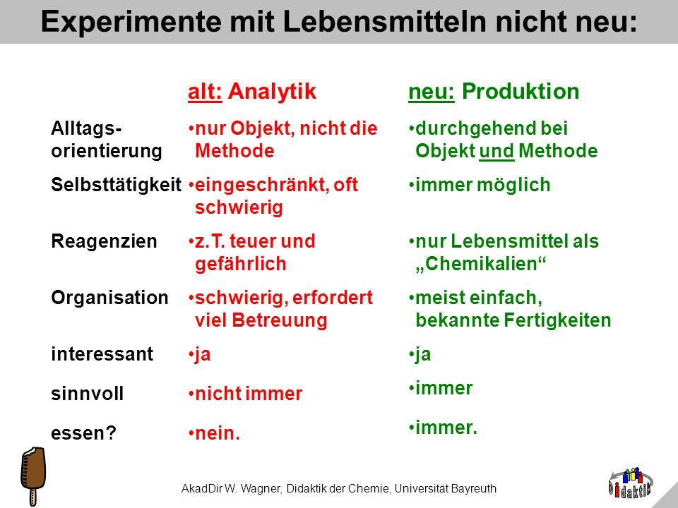 AkadDir W. Wagner, Didaktik der Chemie, Universität Bayreuth Begründung durch Lernende: 1.Endlich machen wir `mal etwas sinnvolles. 2.Fein, dass man d