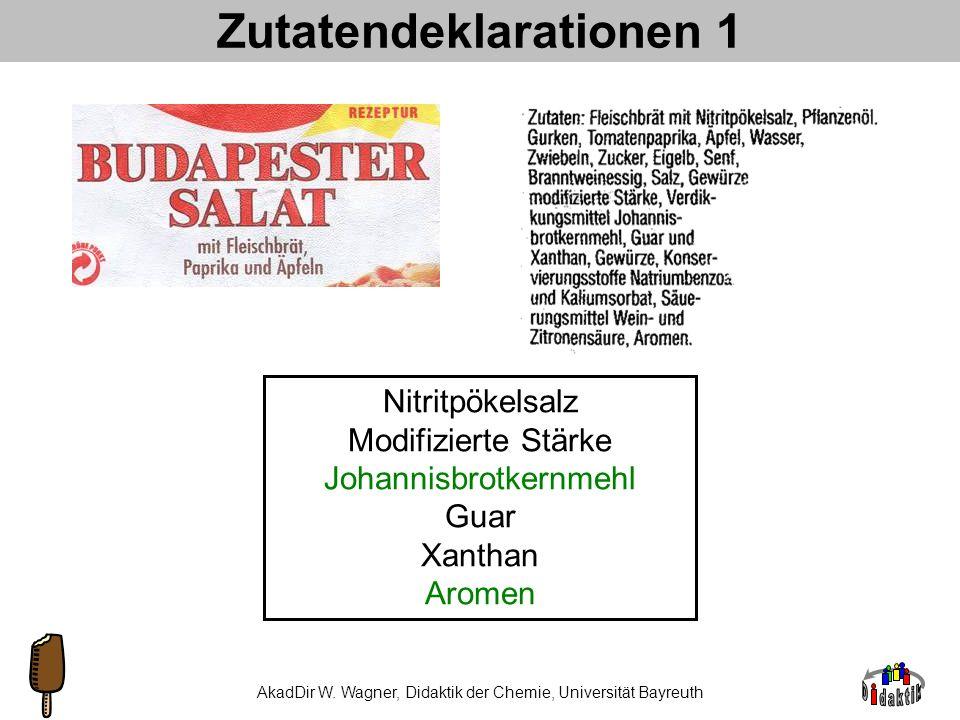 AkadDir W. Wagner, Didaktik der Chemie, Universität Bayreuth Projekt Bier MalzschrotBrauwasser Vorderwürze +T TreberNachguss Treber Hopfen Protein, Öl